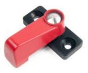 Drawer Locking Latch 35mm - Red/Black
