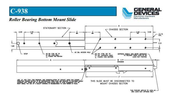 Bottom Mount C-938 Generator Slide (38-180kg each) Non Locking
