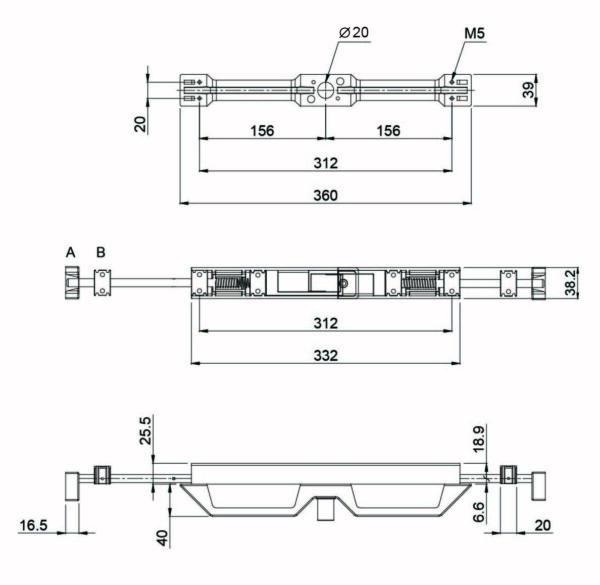 D3000 Light Weight Front Lock Handle - Non Corrosive: Black Vis
