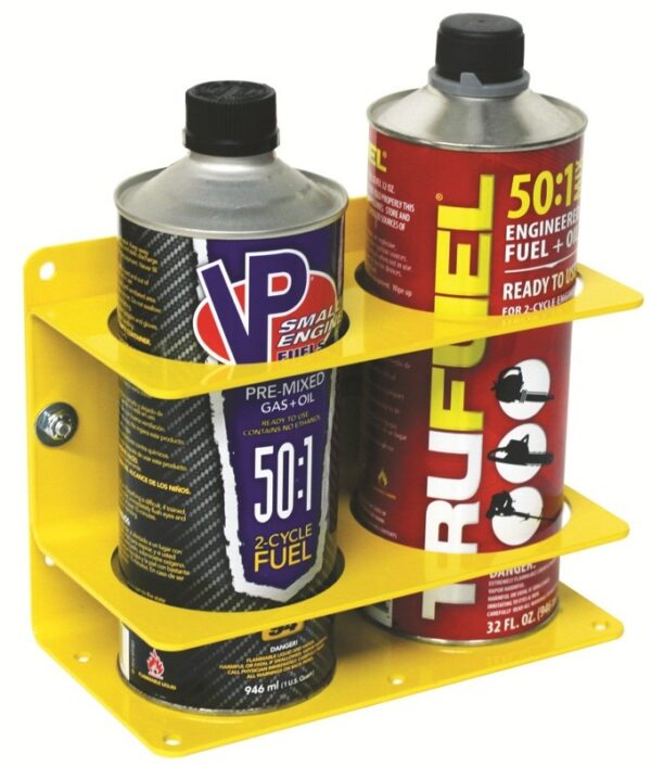 """Double Can Holder - Dia. up to 3-3/8"""" (85mm). Yellow Steel"""