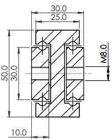 SDTS-50  Stainless Steel 304L (190-380 kg/pr) - Length 600mm