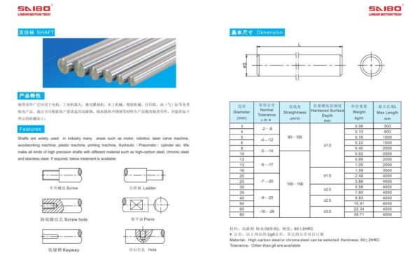 8mm Diameter Hardened Steel Shaft
